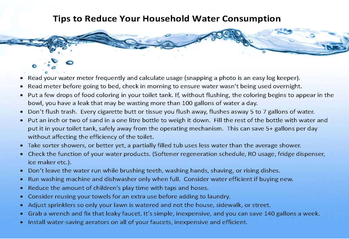 Water Conservation Tips 2021